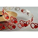 15mm Red Heart Diamante Self Adhesive Strip x 1 Metre!