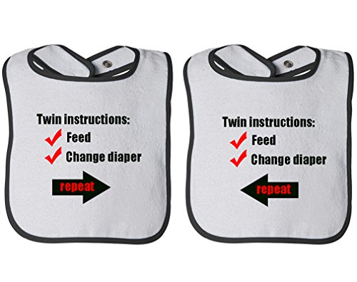 Instructions: Feed Change Diaper Repeat Infant Contrast Trim Terry Bib White/Black by Cute Rascals