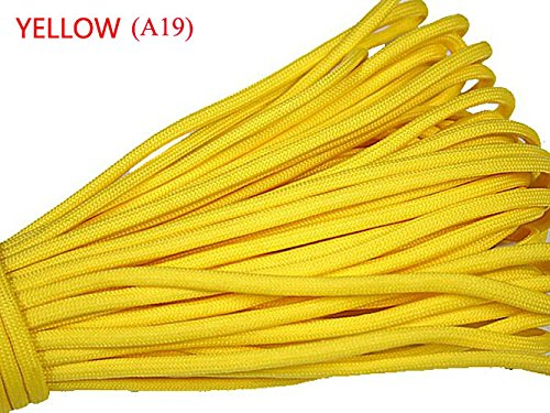100ft 550 Paracord Parachute Cord Lanyard Mil Spec Type III 7 Strand Core (Yellow)