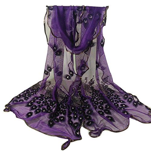 Women Gauze Embroidered Peacock Veil Church Soft Lace Scarf Wrap (Purple) ()