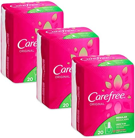 CAREFREE Original Regular To-Go Pantiliners, Fresh Scent 20 ea (3 pack )