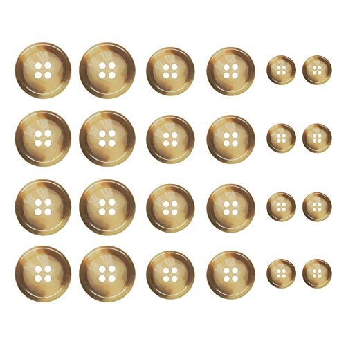 ButtonMode Faux Buffalo Horn Outer Coat Buttons 24pc Set 8 Coat Front Buttons x 23mm (7/8 in.), 8 Jacket Coat Buttons x 21mm (13/16 in.), 8 Coat Trim Buttons x 15mm (5/8 in.), Camel, 24-Buttons ()