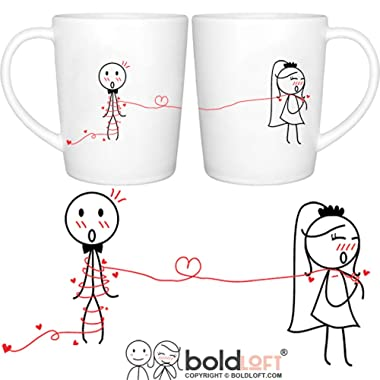 BOLDLOFT Tie the Knot His and Hers Wedding Coffee Mugs -Wedding Gifts for Couple, Bridal Shower Gifts, Engagement Gifts, Newlywed Gifts,Wedding Anniversary Gifts for Him, Her, Couples, Bride and Groom