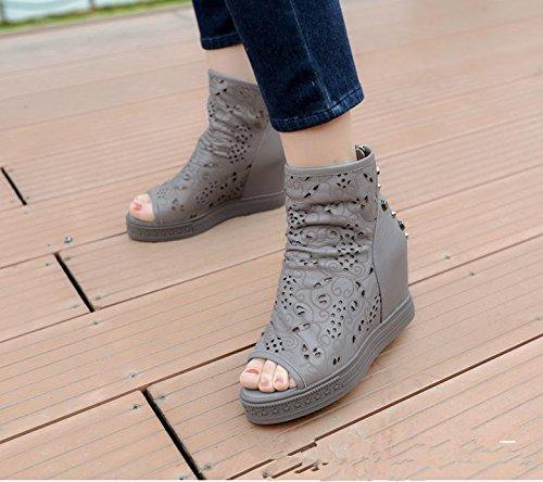 Verano zapatos nueva primera capa de peces de cuero boca cuesta con sandalias casuales Grey