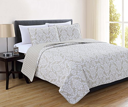 Isabel Collection 3-Piece Luxury Quilt Set with Shams. Soft All-Season Microfiber Bedspread and Coverlet with Unique Pattern. By Home Fashion Designs Brand. (Full/Queen, Wheat)