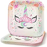 Praity Square Paper Unicorn Themed Plates Set: 16-Pack Waterproof Deluxe Party Plates from Thick Paper | Pink Foil Unicorn Party Disposable Plates for Birthday, Kids' Party & More (9