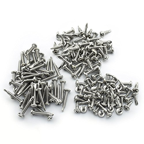 150 Pack #8 Self-Drilling Dovetail Screws Kit 410 Stainless Steel Round Head Phillips Drive Drill Point Tek Screws 1/2 3/4 1 Inches by Ruiling (Image #3)