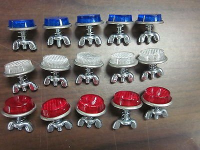 15pc RED White /& Blue Round License Plate Bolt Reflector Bike Fasteners ~ New ~