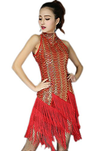 whitewed Flapper Girl and Prohibition Gangster Halloween Attire Costumes,Red/Gold,6/8