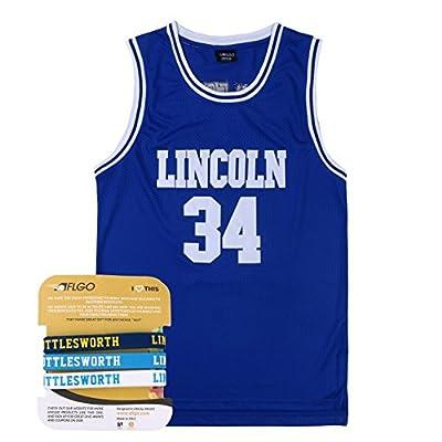 AFLGO Jesus Shuttlesworth 34 Lincoln High School Basketball Jersey Include Set Wristbands S-XXL
