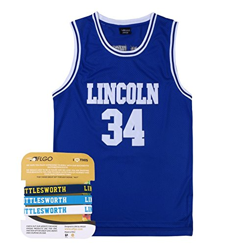 AFLGO Jesus Shuttlesworth 34 Lincoln High School Basketball Jersey Include Set Wristbands S-XXL (Blue, L/50)