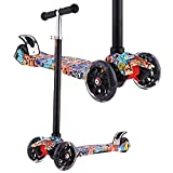 OUTCAMER Fashion Kids Scooter Adjustable Height Mini Children Kick Scooter with 3 LED Light Up Flashing Wheel for Boys Girls up 3 Years Old,Quick Disassembly with One Button,Support 110LBS