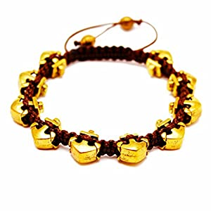 RAVE Mens Bracelet Gold Anchor Beads in Plated Alloy, Brown Wax Cord Shamballa Inspired, Adjustable