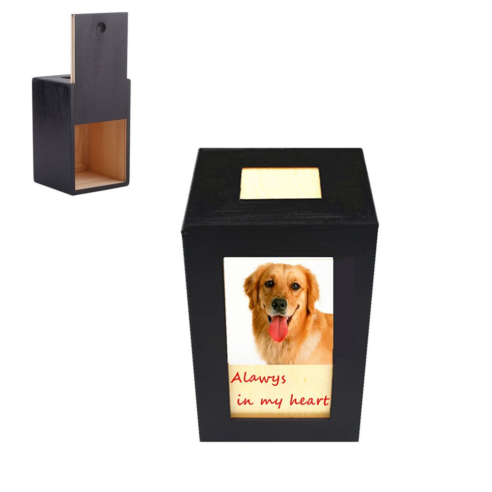 Meiyaa Pet Urn Box, Wooden Pet Cremation Urn Pet Memorial Photo Box for Dog,Cat and Small Animals