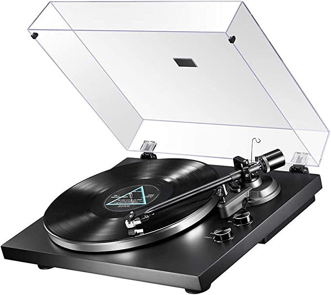 MUIFA Bluetooth Output Turntable, Belt Driven Hi-Fi Wireless Stereo Record Player w/ MM Cartridge, Built-in Preamp, Convert Vinyl to Digital, 33-1/3 ...