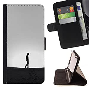 Super Marley Shop - Leather Foilo Wallet Cover Case with Magnetic Closure FOR LG Optimus G2 D800 D801 D802 D803 VS980 F320- Man Walk