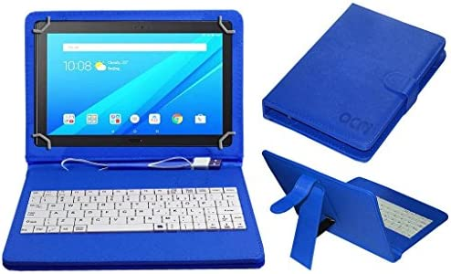 Acm USB Keyboard Case Compatible with Lenovo Tab 4 10 Plus Tablet Cover  Stand with Free Micro USB OTG - Blue