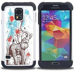 /Skull Market/ - Elephant Cute Aztec For Samsung Galaxy S5 I9600 G9009 G9008V - 3in1 h????brido prueba de choques de impacto resistente goma Combo pesada cubierta de la caja protec -