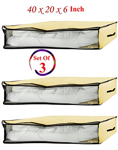 (Set of 3) Low Profile Canvas Storage Box, Blanket Bag, Organizer Box with Zipper and 2 Handles, See-Through Front Window, Size:40'' x 20'' x 6'' (3 Canvas Storage Boxes)