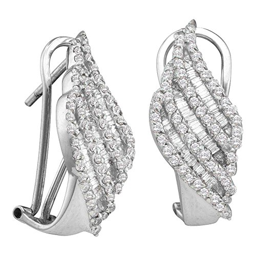 Gold Baguette Diamond Earrings - 14k White Gold Round Baguette Diamond Leverback Omega-back Womens Cocktail Earrings 1-1/4 Cttw (I1 clarity; H-I color)