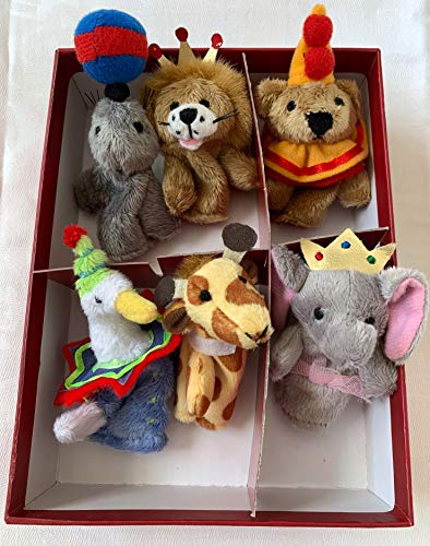Restoration Hardware Boxed Set of 6 Plush Circus Animal Finger Puppets