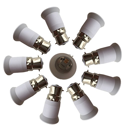 DZYDZR 10 pcs Bulb Holder B22 to E27 Adapter Converter - B22 Light Socket to E26 Light Bulb Base Socket, Fits LED/CFL Light Bulbs, Heat-resistant, Anti-burning, No Fire Hazard