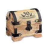 "Engraved Treasure Chest for 50th Birthday - Small - Light Wood - Jewelry Box - Money Box - Wooden Storage Box - Birthday Present Idea - 4"" (10 cm) x 3"" (7 cm) x 3.5"" (9 cm)"