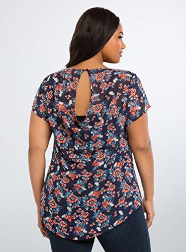Floral Chiffon Drape Back Top