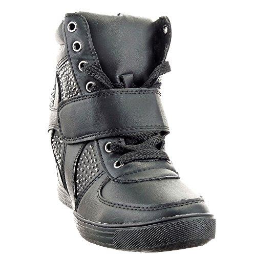 Sopily - Scarpe da Moda Sneaker Zeppa alti donna strass Tacco zeppa 10 CM - soletta pelle - Nero