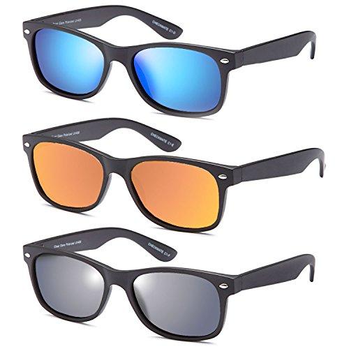 Gamma Ray Polarized UV400 Classic Style Sunglasses with Mirror Lens, 3 Pack - Matte - Rated Sunglasses Polarized Top