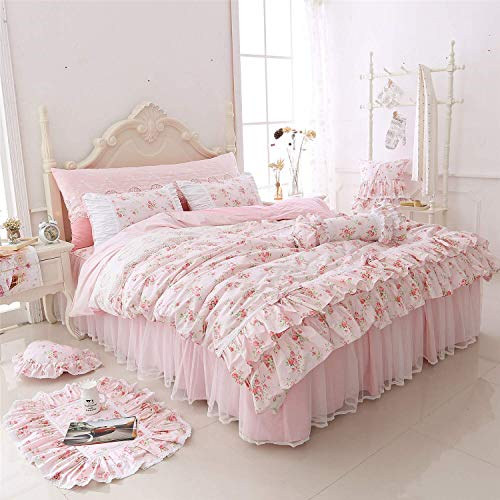 LELVA Romantic Roses Print Duvet Cover Set with Bed Skirt Pink Lace Ruffle Floral Shabby Chic Bedding Sets Queen 4 Piece