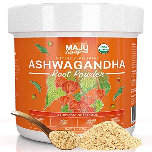 MAJU's Organic Ashwagandha Root Powder - Finely Ground, Premium and Non-GMO (113 g)