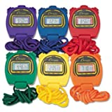 Champion Sports Water-Resistant Stopwatches, 1/100 Second, Assorted Colors, 6 Per Set