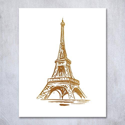 Eiffel Tower Gold Foil Print Wall Art Home Decor France Small Paris Fashion Poster Metallic 5 inches x 7 inches (Fashion Wall)