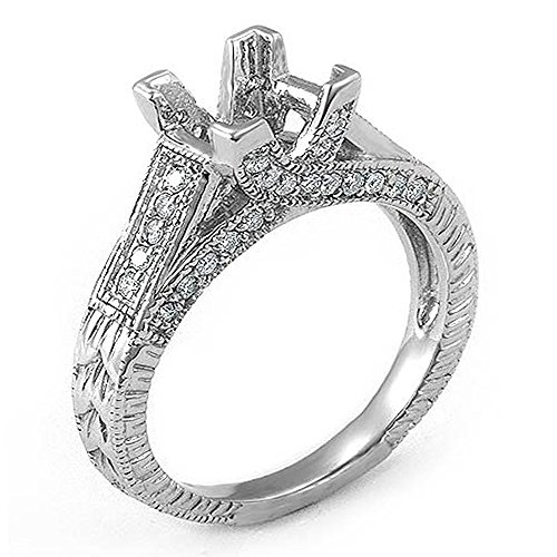 Womens Diamond Semi Mount (0.40 Carat (Ctw) 14k White Gold Princess & Round Diamond Ladies Semi Mount Bridal Ring (No Center Stone) (Size)
