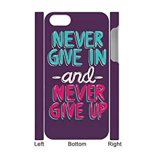 Custom New Case for Iphone 4,4S 3D, Never Give Up Phone Case - HL-526317