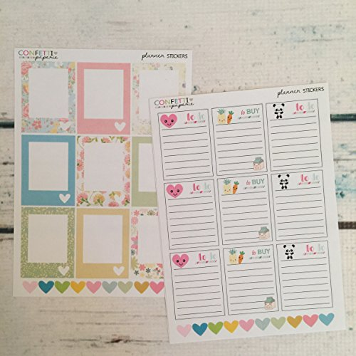 KAWAII Full Boxes to do / to buy stickers, blank planner stickers, planner accessory, Erin Condren