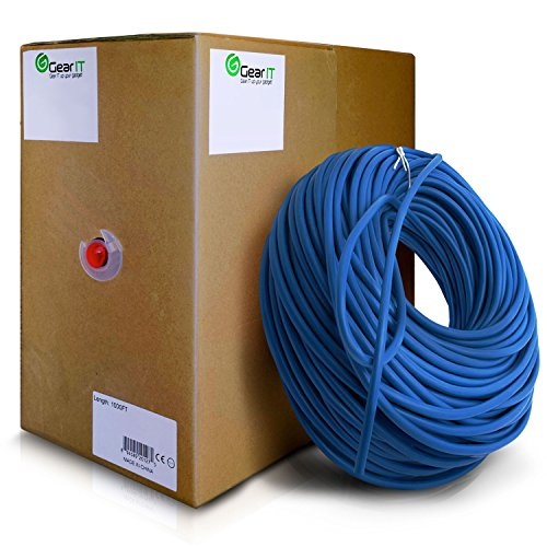 GearIT 1000 Feet Bulk Cat6 Ethernet Cable - Cat 6e 550Mhz 24AWG Full Copper Wire UTP Pull Box - In-Wall Rated (CM) STRANDED Cat6, Blue