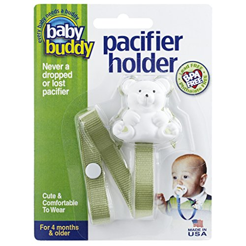 Baby Buddy Pacifier Holder Clip - Cute Fashionable Bear Clips onto Baby's Shirt, Snaps to Paci, Teether, Toy - For Babies 4+ Months - Pacifier Clip for Toddlers Boys & Girls, Sage, 1 Count from Baby Buddy