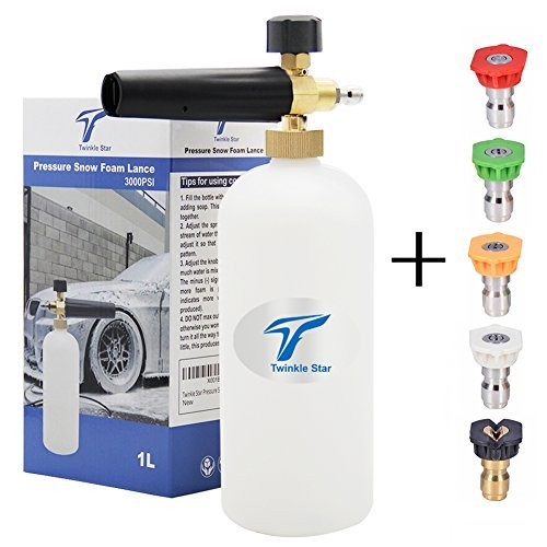 Twinkle Star Foam Cannon 1 L Bottle Snow Foam Lance with 1/4'' Quick Connector, 5 Spray Nozzle Tips for Pressure Washer by Twinkle Star