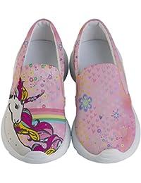 Child & Youth Slip Ons Joyful Animals & Lovely Unicorn Kids Lightweight Casual Shoes, Size:US 8C-US 7Y