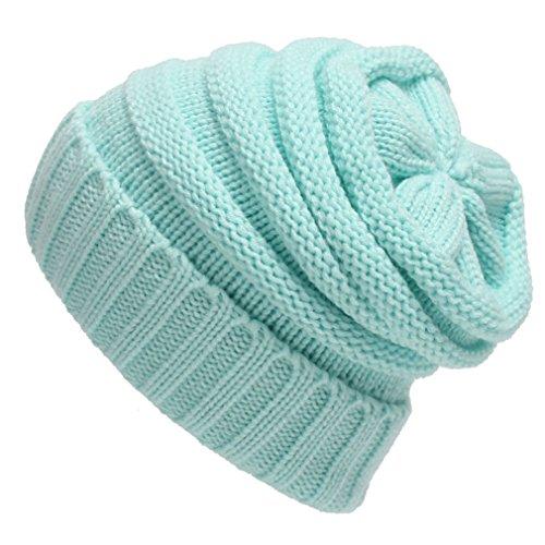 light blue knit beanie - 2
