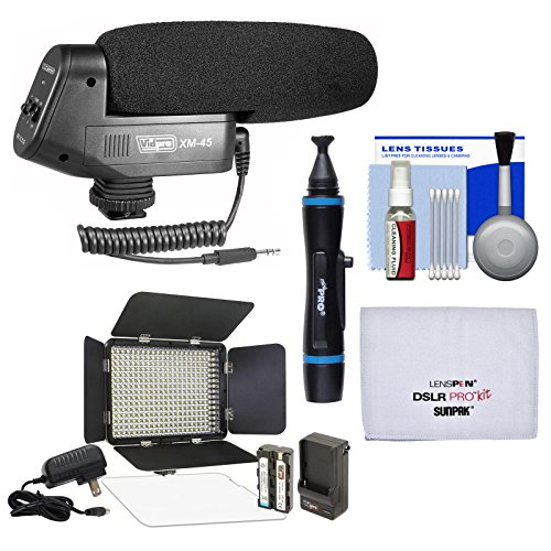 Vidpro XM-45 Professional Condenser Shotgun Video Microphone with Video Light + Kit
