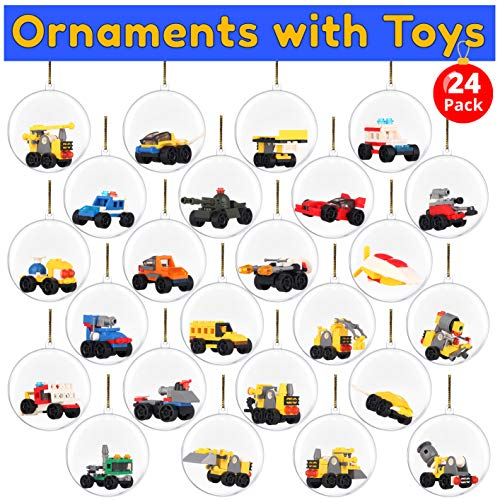 BETTERLINE 24 Clear Christmas Ball Ornaments Filled with Assembly Block Toy Cars- Fill with Toys or Surprises for Decor, Xmas Tree, Birthdays, Parties, Events (Car Ornament)