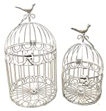 Decorative Bird Cages Wedding Reception Gift Card Holder Centerpiece Garden Ornaments Set of 2 (White)