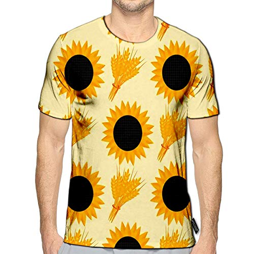 3D Printed T-Shirts Rye Wheat Harvest Ears of Golden Sunflower Beautiful Nature Rural Short Sleeve Tops Tees c