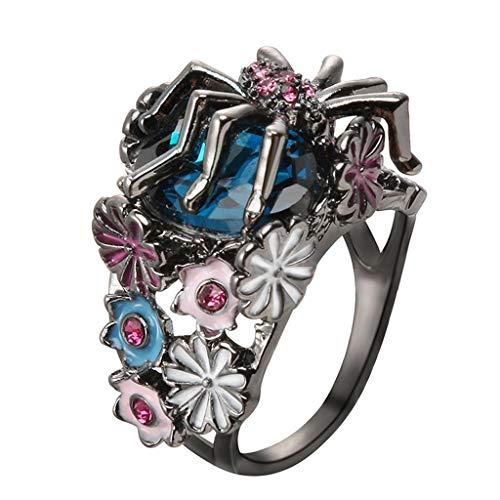 Rape Flower Turkish Handmade Unique Silver Flower Spider Sapphire Women Ring Jewelry (B)