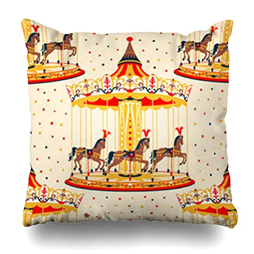 YeaSHARK Throw Pillow Covers Vintage Brown Pattern Carousel Horses Pony Merry Go Round Stars Holidays Circus Amusement Park Zippered Design Square 20