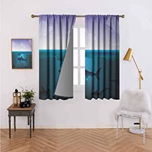 Blackout Curtains for Living Room-Curtain Hanging Vertically Wild Sharks Swimming in Sea Atlantic Ocean Peace Clouds Marine Design,Wedding Party Decorations W72 x L62 Set of 2 Panels
