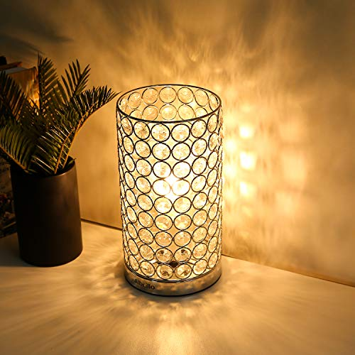 Crystal Table Lamp - Albrillo, Accent Desk Lamp Bedside Lamps, Modern Table Light with Silver Shade, Nightstand Lamps for Bedroom, Living Room by Albrillo (Image #1)